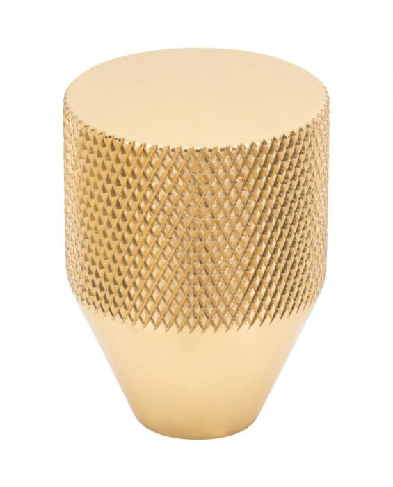 Beliza Conical Knurled Knob 1 Inch Polished Brass