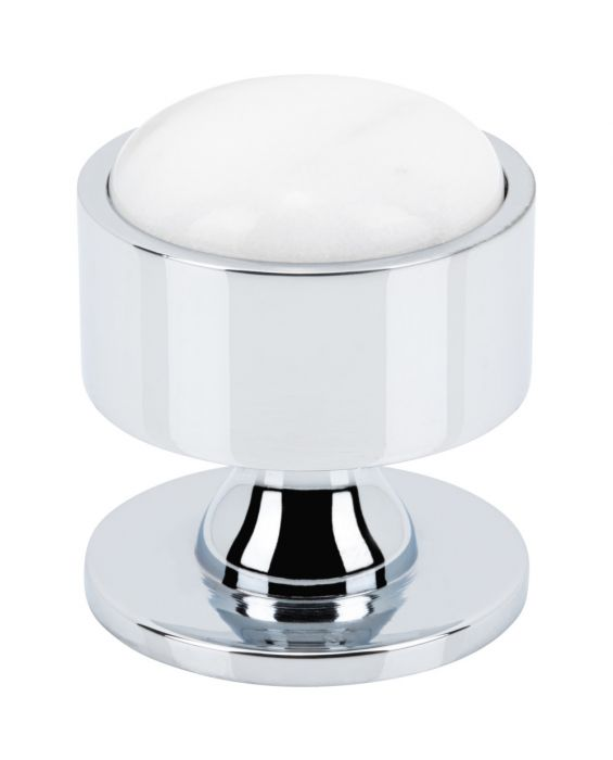 Firesky Carrara White Knob 1 3/8 Inch Polished Chrome Base