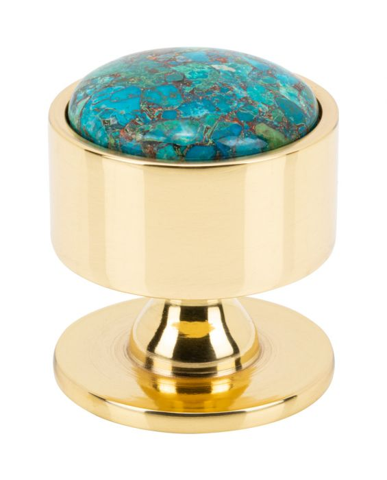Firesky Mohave Blue Knob 1 3/8 Inch Polished Brass Base