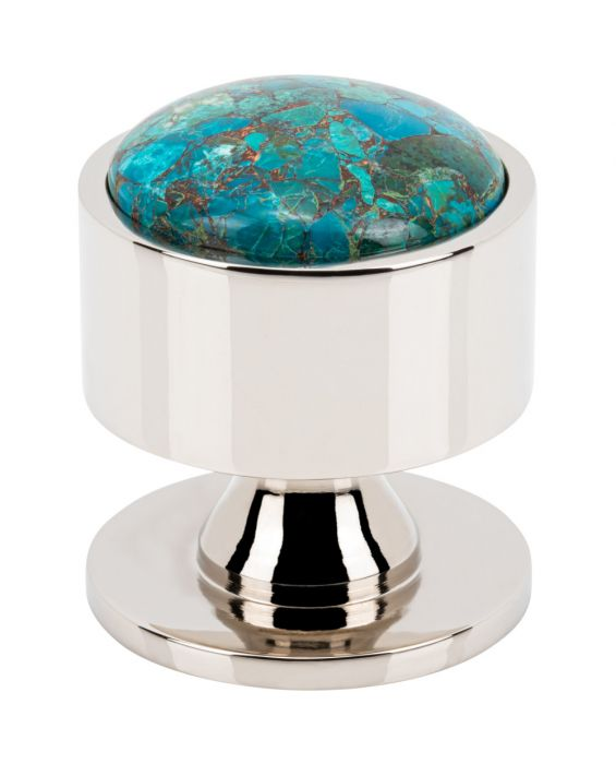 Firesky Mohave Blue Knob 1 3/8 Inch Polished Nickel Base