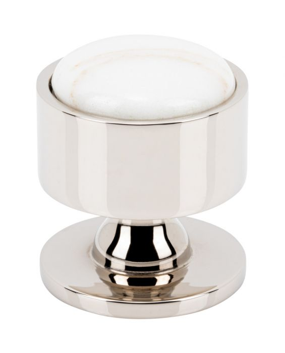 Firesky Calacatta Gold Knob 1 3/8 Inch Polished Nickel Base