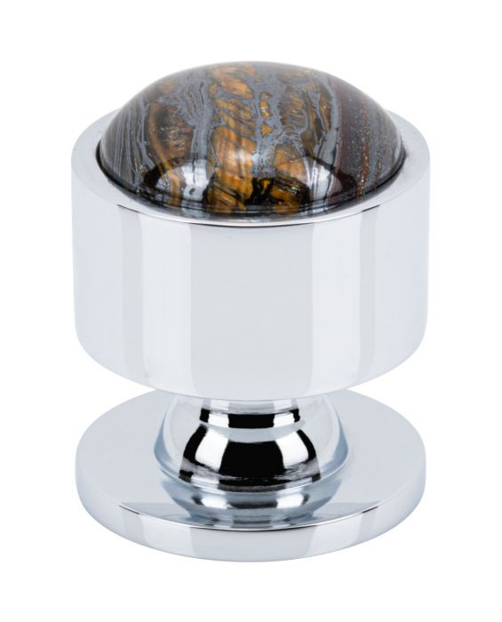 Firesky Iron Tiger Eye Knob 1 1/8 Inch Polished Chrome Base
