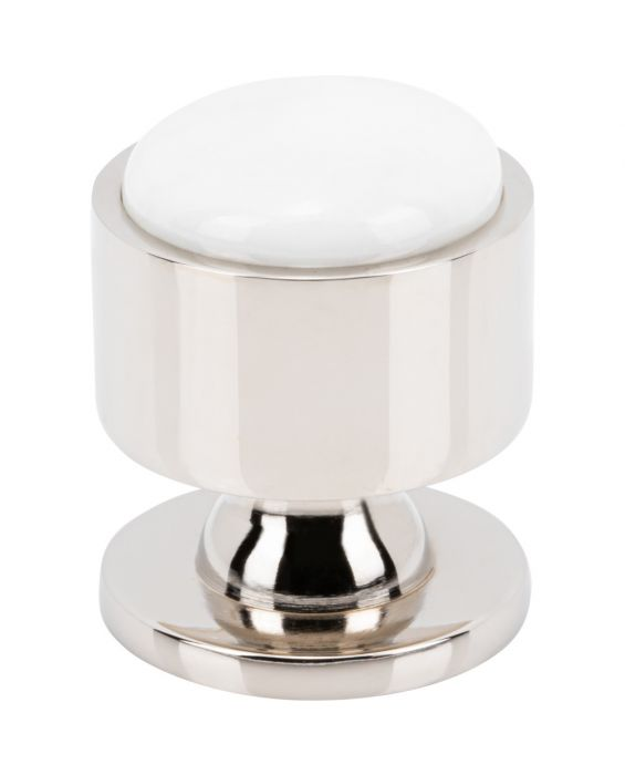 Firesky Carrara White Knob 1 1/8 Inch Polished Nickel Base