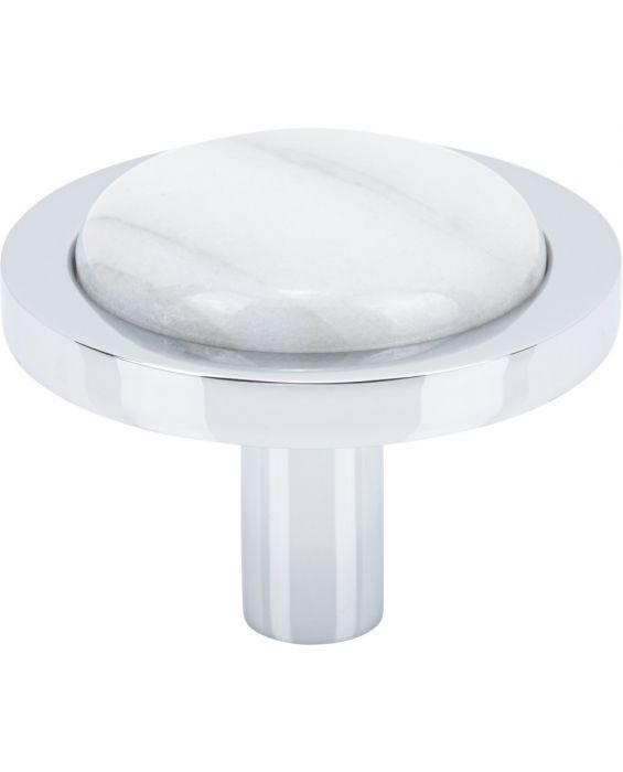 Firesky Carrara White Knob 1 9/16 Inch Polished Chrome Base