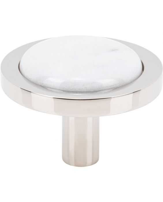 Firesky Carrara White Knob 1 9/16 Inch Polished Nickel Base