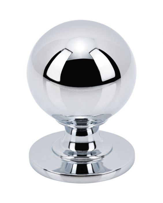 Divina Round Smooth Knob 1 1/4 Inch Polished Chrome
