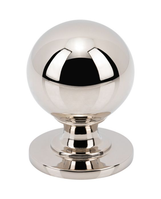 Divina Round Smooth Knob 1 1/4 Inch Polished Nickel