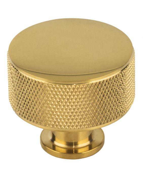 Beliza Cylinder Knurled Knob 1 3/8 Inch Unlacquered Brass