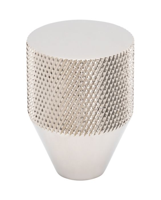 Beliza Conical Knurled Knob 1 Inch Polished Nickel