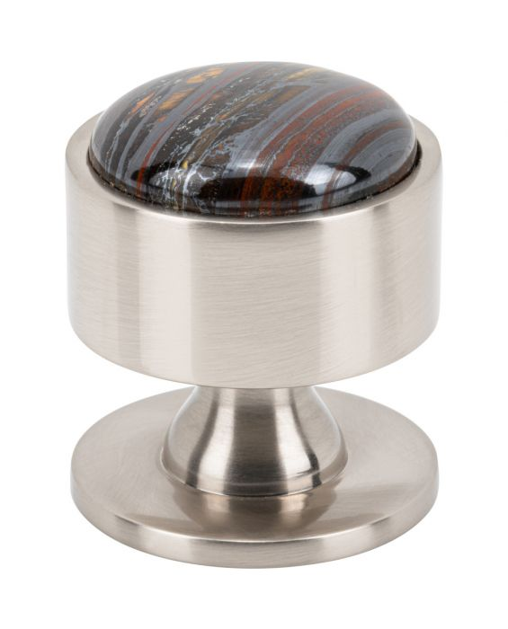 FireSky Iron Tiger Eye Knob 1 3/8 Inch Brushed Satin Nickel Base