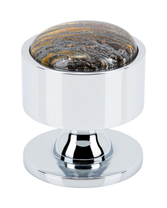 FireSky Iron Tiger Eye Knob 1 3/8 Inch Polished Chrome Base