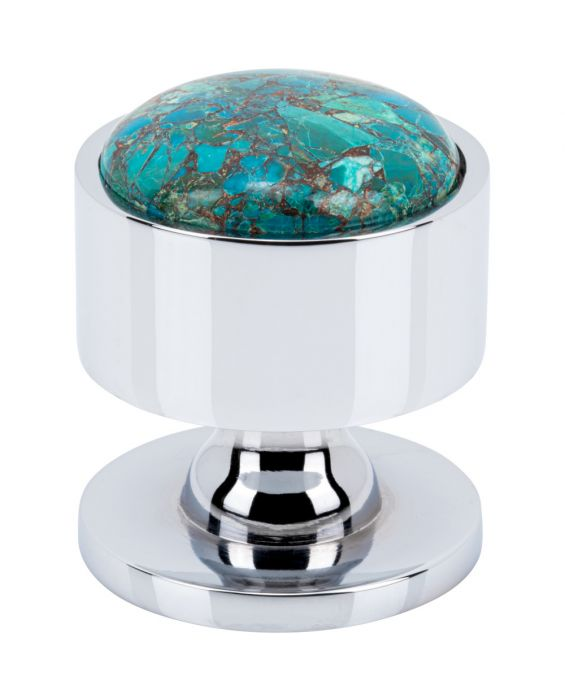Firesky Mohave Blue Knob 1 3/8 Inch Polished Chrome Base