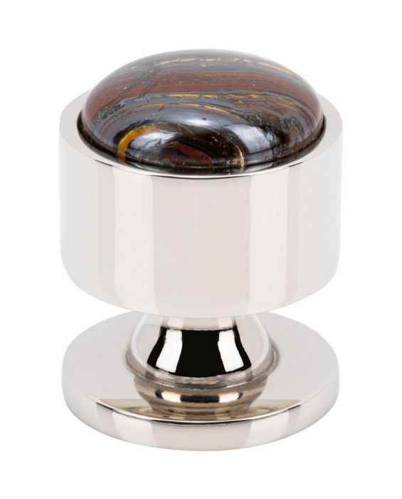 FireSky Iron Tiger Eye Knob 1 1/8 Inch Polished Nickel Base