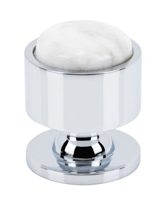 Firesky Carrara White Knob 1 1/8 Inch Polished Chrome Base