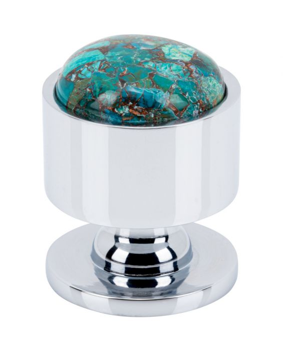 FireSky Mohave Blue Knob 1 1/8 Inch Polished Chrome Base