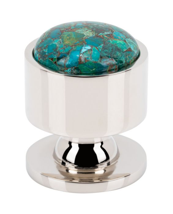 FireSky Mohave Blue Knob 1 1/8 Inch Polished Nickel Base