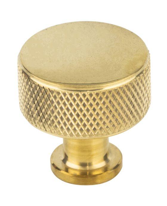 Beliza Cylinder Knurled Knob 15/16 Inch Unlacquered Brass