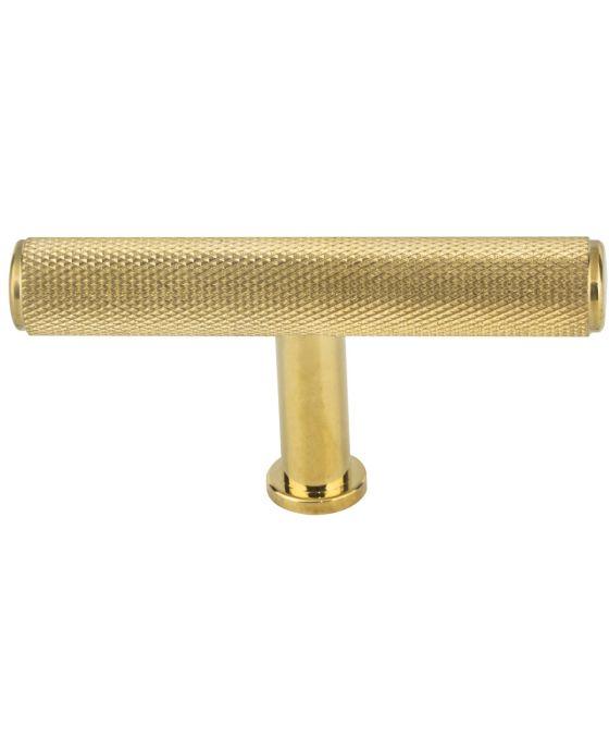 Beliza Knurled T Knob 2 3/4 Inch Unlacquered Brass