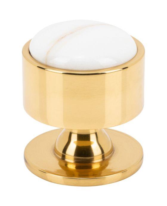 FireSky Calacatta Gold Knob 1 3/8 Inch Polished Brass Base