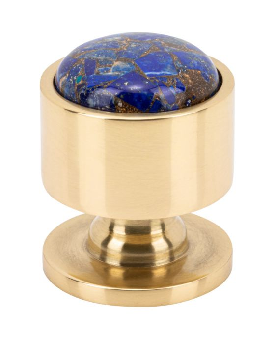 Firesky Mohave Lapis Knob 1 1/8 Inch Polished Brass Base