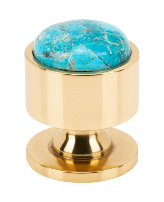 Firesky Mohave Turquoise Knob 1 1/8 Inch Polished Brass Base