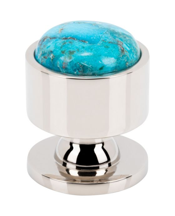 Firesky Mohave Turquoise Knob 1 1/8 Inch Polished Nickel Base
