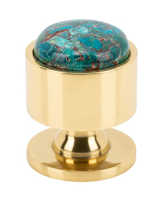 Firesky Mohave Blue Knob 1 1/8 Inch Polished Brass Base