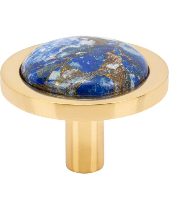 Firesky Mohave Lapis Knob 1 9/16 Inch Polished Brass Base