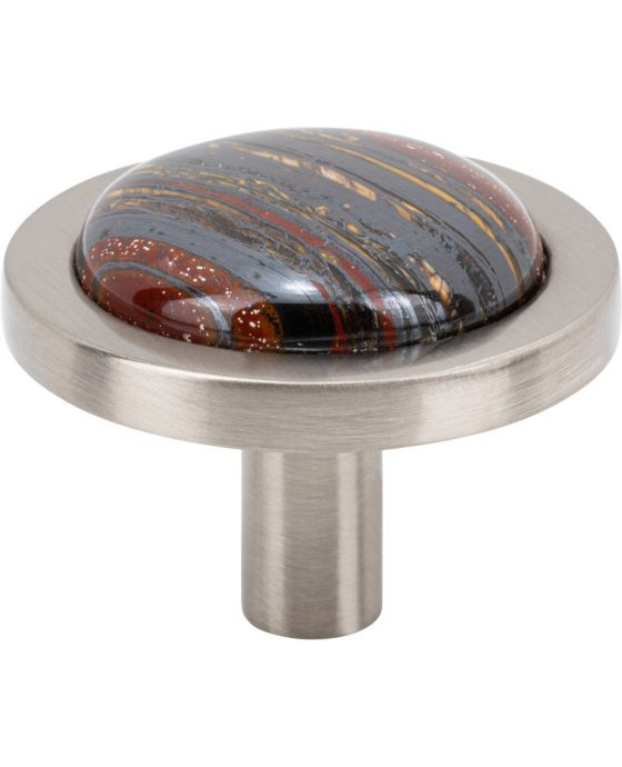 Firesky Iron Tiger Eye Knob 1 9/16 Inch Brushed Satin Nickel Base