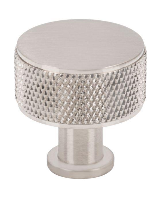 Beliza Cylinder Knurled Knob 1 Inch Brushed Satin Nickel