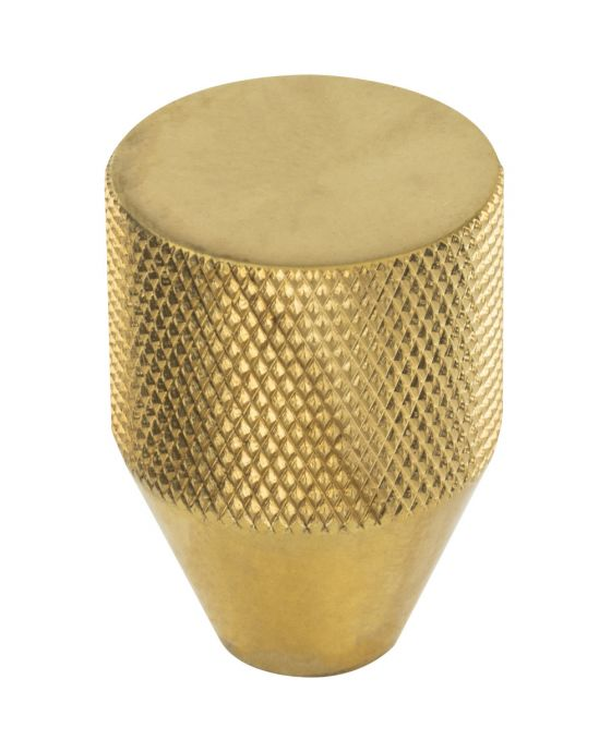 Beliza Conical Knurled Knob 1 Inch Unlacquered Brass