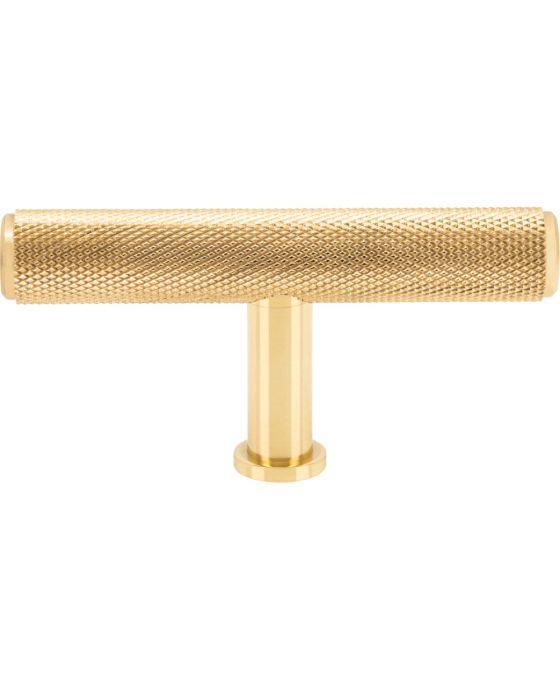 Beliza Knurled T Knob 2 3/4 Inch Polished Brass