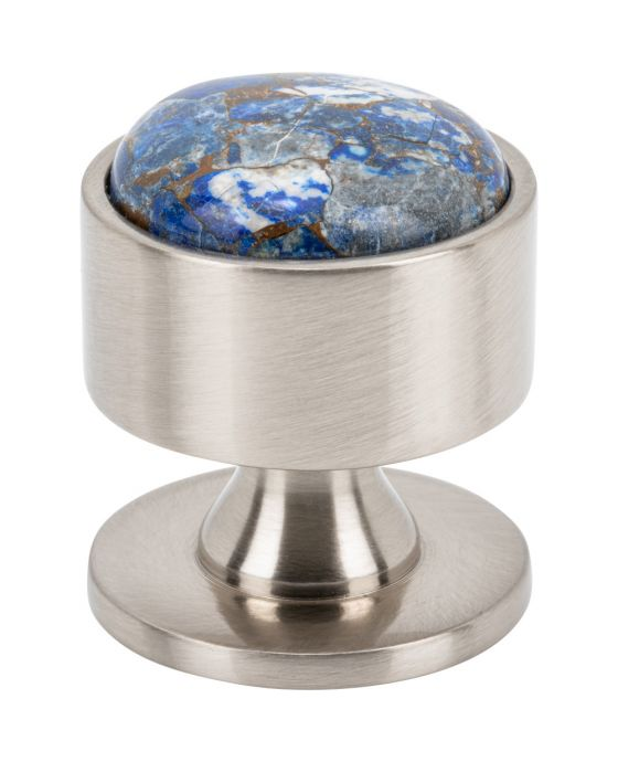 Firesky Mohave Lapis Knob 1 3/8 Inch Brushed Satin Nickel Base