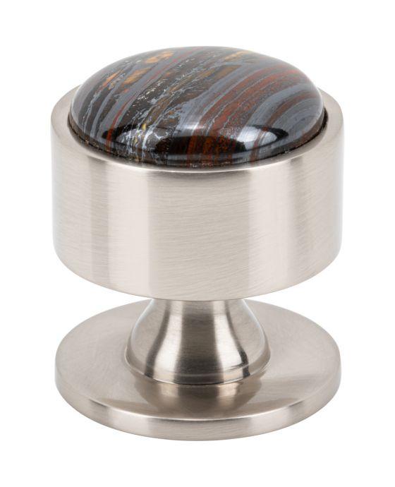 Firesky Iron Tiger Eye Knob 1 3/8 Inch Brushed Satin Nickel Base