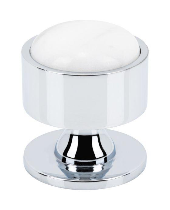 FireSky Carrara White Knob 1 3/8 Inch Polished Chrome Base