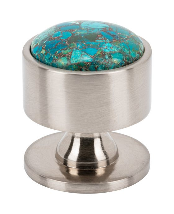 FireSky Mohave Blue Knob 1 3/8 Inch Brushed Satin Nickel Base