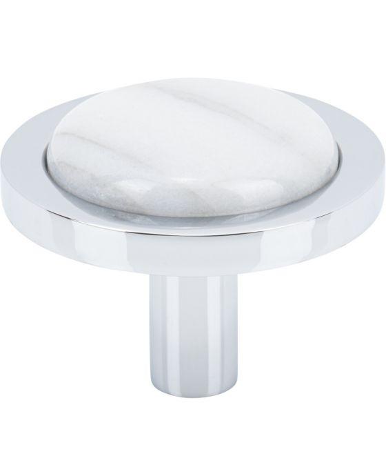FireSky Carrara White Knob 1 9/16 Inch Polished Chrome Base