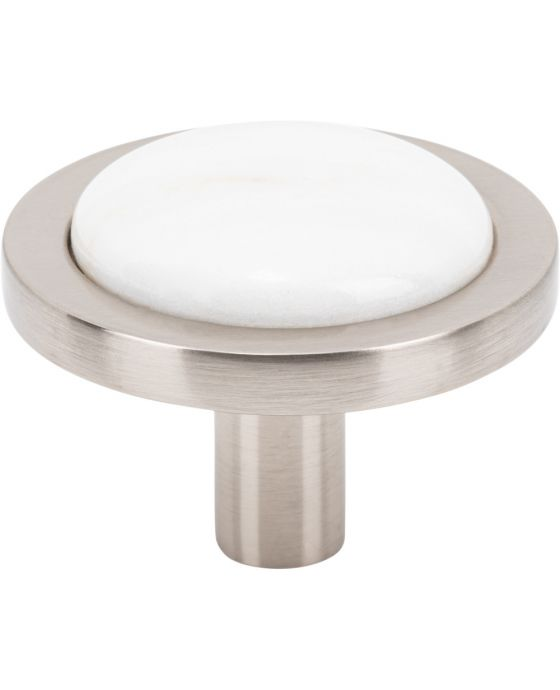 Firesky Calacatta Gold Knob 1 9/16 Inch Brushed Satin Nickel Base