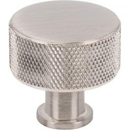 Beliza Cylinder Knurled Knob 1 1/8 Inch Brushed Satin Nickel