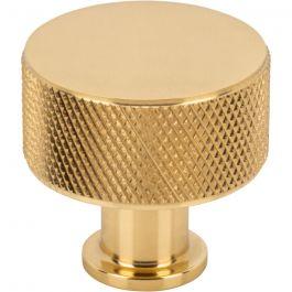 Beliza Cylinder Knurled Knob 1 1/8 Inch Polished Brass