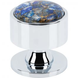 Firesky Mohave Lapis Knob 1 3/8 Inch Polished Chrome Base