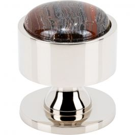 Firesky Iron Tiger Eye Knob 1 3/8 Inch Polished Nickel Base