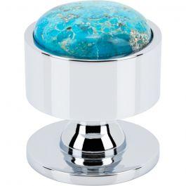 Firesky Mohave Turquoise Knob 1 3/8 Inch Polished Chrome Base