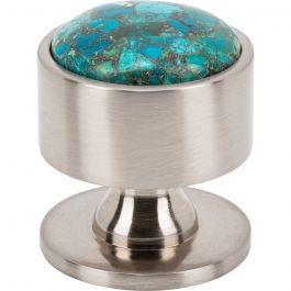 Firesky Mohave Blue Knob 1 3/8 Inch Brushed Satin Nickel Base
