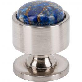 Firesky Mohave Lapis Knob 1 1/8 Inch Brushed Satin Nickel Base