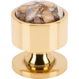 Firesky Mohave Yellow Knob 1 1/8 Inch Polished Brass Base