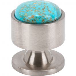Firesky Mohave Turquoise Knob 1 1/8 Inch Brushed Satin Nickel Base