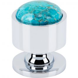 Firesky Mohave Turquoise Knob 1 1/8 Inch Polished Chrome Base