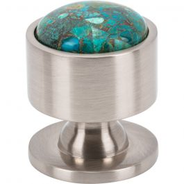FireSky Mohave Blue Knob 1 1/8 Inch Brushed Satin Nickel Base