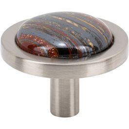 Firesky Iron Tiger Eye Knob 1 9/16 Inch Brushed Satin Nickel Base